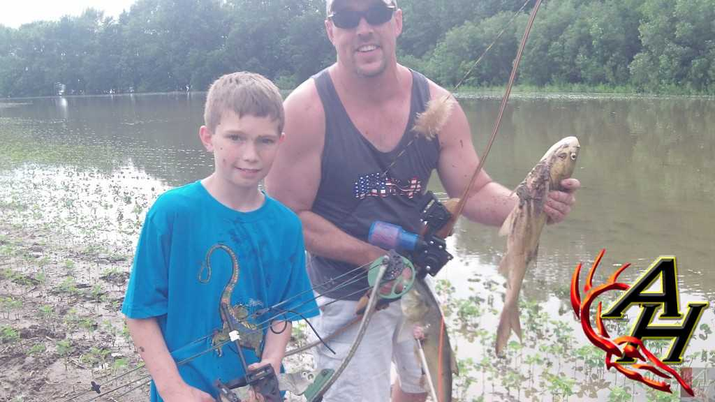 Asian Carp double bowfishing
